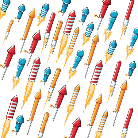 pyro: flat design flying firecracker pattern background vector illustration
