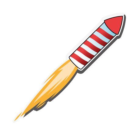 firecracker: flat design flying firecracker icon vector illustration