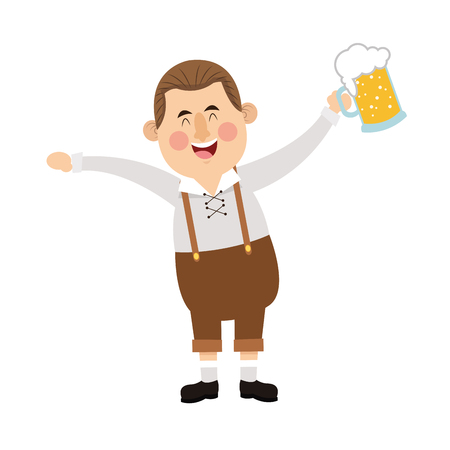leather pants: flat design bavarian man with beer icon vector illustration
