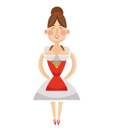 bavarian: flat design bavarian woman icon vector illustration