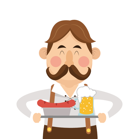 suspenders: flat design bavarian man with beer and sausage icon vector illustration Illustration