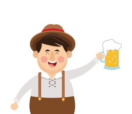 flat design bavarian man with beer icon vector illustration