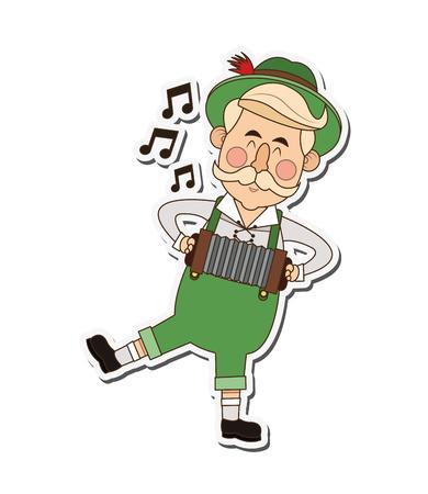 beer stein: flat design bavarian musician icon vector illustration