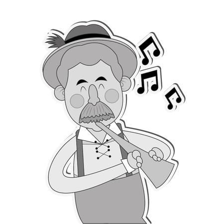 leather pants: flat design bavarian musician icon vector illustration