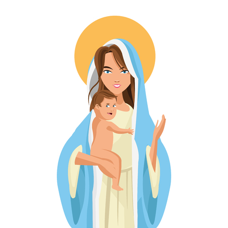 madonna: flat design holy mary holding baby jesus icon vector illustration