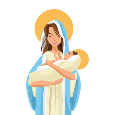 christian young: flat design holy mary holding baby jesus icon vector illustration