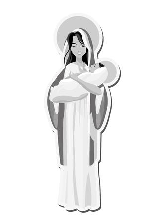 flat design holy mary holding baby jesus icon vector illustration
