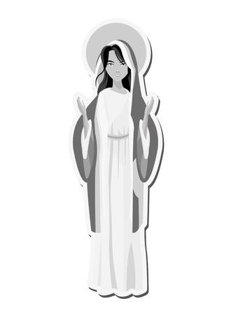 platte ontwerp heilige maagd Maria pictogram vector illustratie