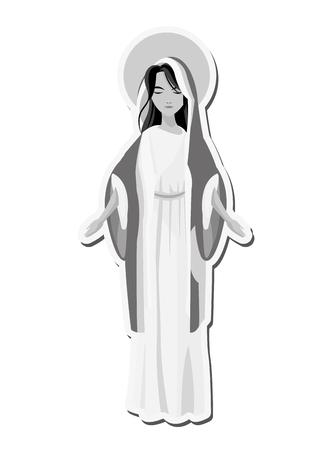 flat design holy virgin mary icon vector illustration Stock Illustratie