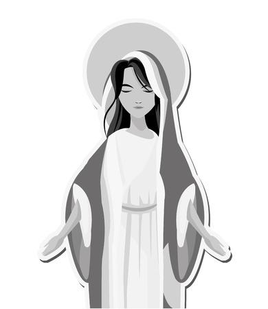 flat design holy virgin mary icon vector illustration Illustration