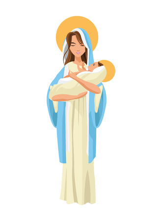 birthday religious: flat design holy mary holding baby jesus icon vector illustration