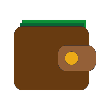 flat design closed wallet icon vector illustration