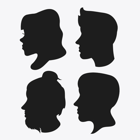 head profile: people woman man male female head person human profile silhouette icon. Flat and Isolated design. Vector illustration Illustration