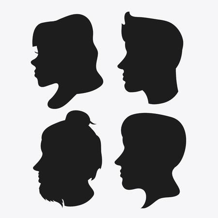 profile silhouette: people woman man male female head person human profile silhouette icon. Flat and Isolated design. Vector illustration Illustration