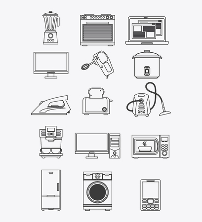 coffee blender: blender stove laptop computer mixer cooker iron toaster vacuum coffee machine computer microwave fridge washer cellphone appliances supplies electronic home icon. Colorful and silhouette design. Vector illustration