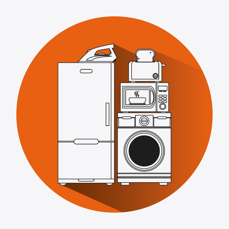 taster: fridge washer toaster iron microwave appliances supplies electronic home icon. Colorful and silhouette design. Vector illustration