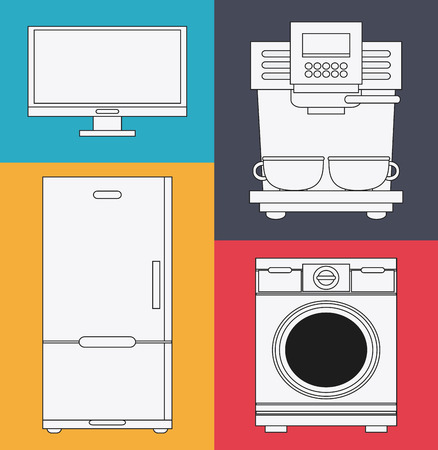 washer: tv washer fridge coffee machine appliances supplies electronic home icon. Colorful and silhouette design. Vector illustration Illustration