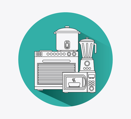 microwave stove: stove cooker microwave blender appliances supplies electronic home icon. Colorful and silhouette design. Vector illustration