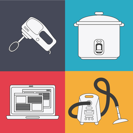 laptop home: mixer cooker laptop vacuum appliances supplies electronic home icon. Colorful and silhouette design. Vector illustration Illustration