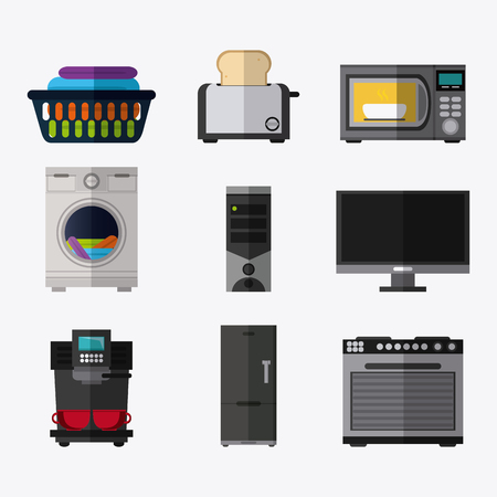 microwave stove: cloth washer coffee machine fridge computer toaster microwave stove appliances supplies electronic home icon. Colorful and flat design. Vector illustration Illustration