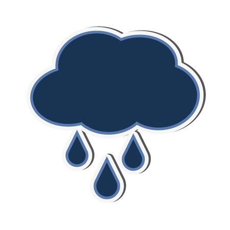 cloud drop rain raining weather sky nature season climate  icon. Flat and isolated design. Vector illustration