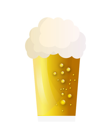 brewed: beer glass drink alcohol beverage pub bar icon. Flat and isolated design. Vector illustration