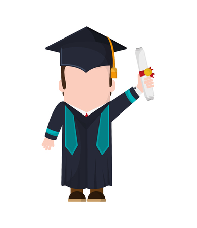 boy man male cartoon graduation cap university cloth icon. Flat and isolated design. Vector illustration 向量圖像