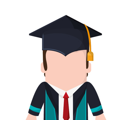boy man male cartoon graduation cap university cloth icon. Flat and isolated design. Vector illustration Illustration