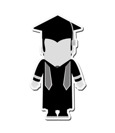 bachelor's: boy man male cartoon graduation cap university cloth icon. Flat black white and isolated design. Vector illustration