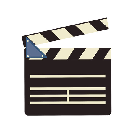 clapboard: clapboard cinema movie film entertainment icon. Flat and isolated design. Vector illustration