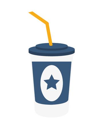 cinema viewing: soda coke star cinema movie film entertainment icon. Flat and isolated design. Vector illustration