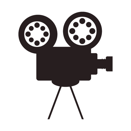 videocamera: videocamera cinema movie film entertainment icon. Flat and isolated design. Vector illustration