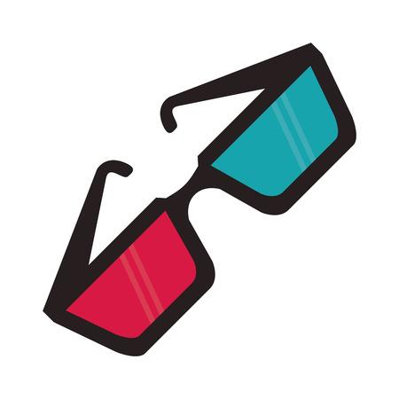 3d glasses cinema movie film entertainment icon. Flat and isolated design. Vector illustration Illustration