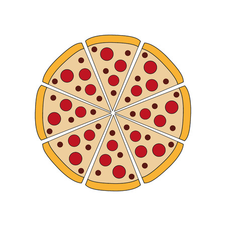 pizza fast food menu restaurant lunch icon. Flat and isolated design. Vector illustration