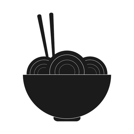noodle bowl: noodle bowl fast food menu restaurant lunch icon. Flat and isolated design. Vector illustration Illustration