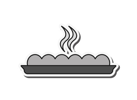 bread hot bakery plate food restaurant icon. Flat and isolated design. Vector illustration