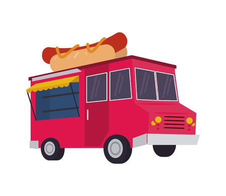 hot dog truck delivery fast food urban business icon. Flat and isolated design. Vector illustration
