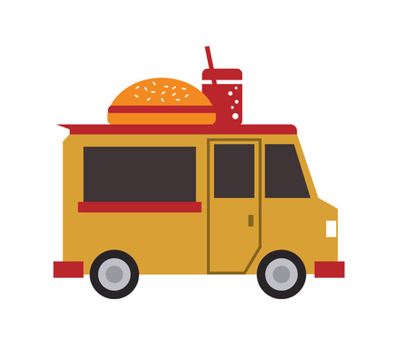 street vendor: hamburger delivery fast food urban business icon. Flat and isolated design. Vector illustration Illustration