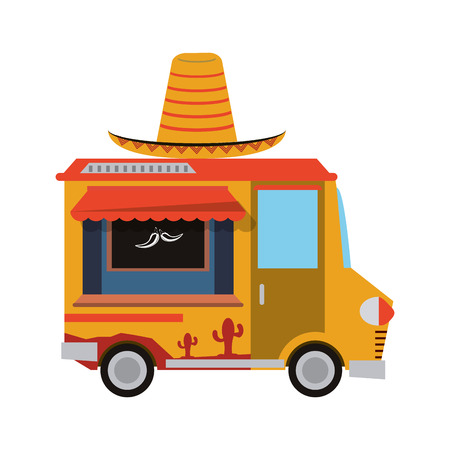 street vendor: hat mexican truck delivery fast food urban business icon. Flat and isolated design. Vector illustration