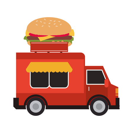 hamburger delivery fast food urban business icon. Flat and isolated design. Vector illustration Illustration