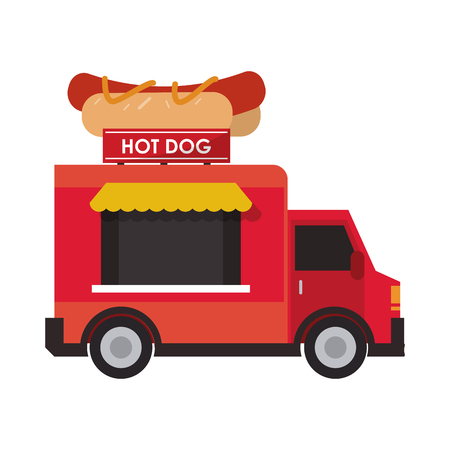 street vendor: hot dog truck delivery fast food urban business icon. Flat and isolated design. Vector illustration
