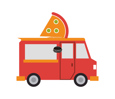 vendors: pizza truck delivery fast food urban business icon. Flat and isolated design. Vector illustration