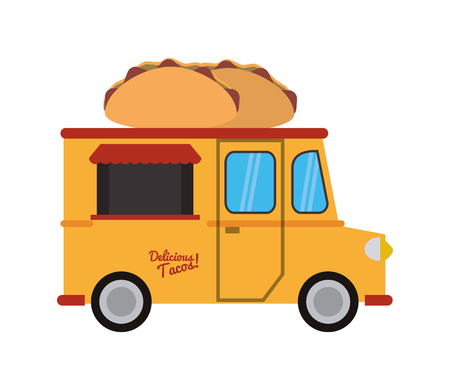 street vendor: taco truck delivery fast food urban business icon. Flat and isolated design. Vector illustration