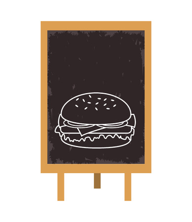 consume: hamburger blackboard fast food menu restaurant lunch icon. Flat and isolated design. Vector illustration