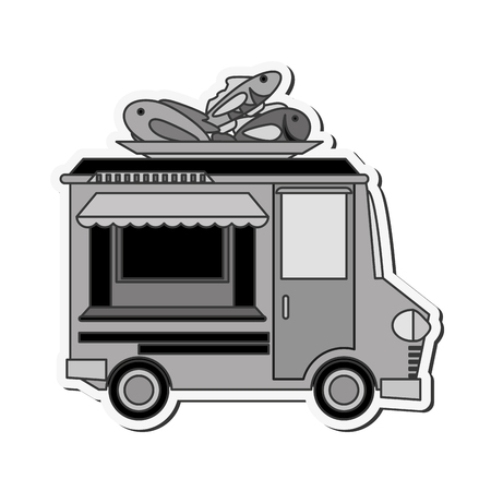 fish vendor: fish truck delivery fast food urban business icon. Flat and isolated design. Vector illustration Illustration