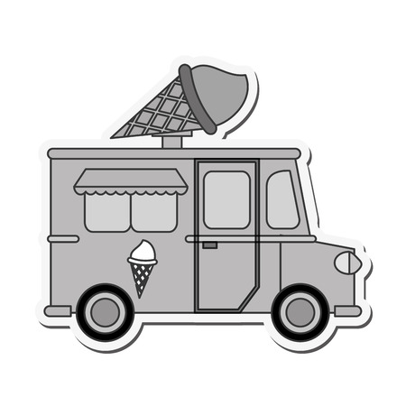 street vendor: truck ice cream delivery fast food urban business icon. Flat and isolated design. Vector illustration Illustration