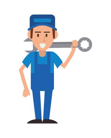 réparateur clé constructer travailleur chapeau constructeur icône proffesional. Design plat et isolé. Vector illustration