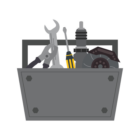 tool kit: tool kit box repair construction instrument icon. Flat and isolated design. Vector illustration