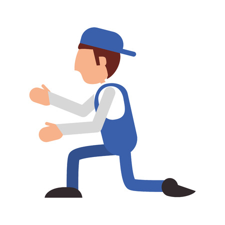 proffesional: repairman hat builder constructer worker proffesional icon. Flat and isolated design. Vector illustration