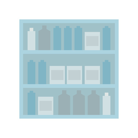 store shelf: Shelf stand furniture jar box shop market store icon. Flat and isolated design. Vector illustration Illustration